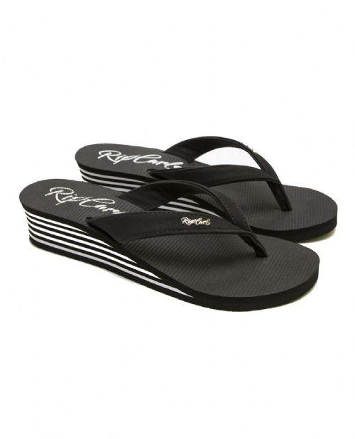 RIP CURL WOMENS FLIP FLOPS.NEW MOREA WEDGE HEELED BLACK THONGS SANDALS 8S N1 431